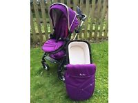 Silver Cross Poineer travel system - Damson/Black including pushchair and carrycot