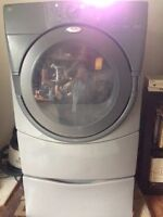 Extra Large Capacity Whirlpool Duet Gas Dryer-Attached Pedastal