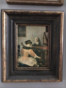 """Victorian """"Girl at Piano"""" (Peaceful Oil Painting Print)"""