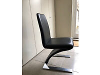 4 Sets of 2 Faux Leather Used Dining Chair Modern Chrome Z Shape Living Room Black