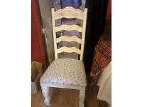 2 solid pine high back dining chairs