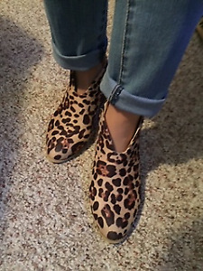 Leopard print suede ankle boot size 7-8