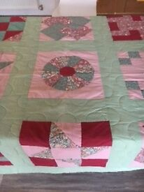 Handmade Heirloom Quilt – Pale green and pinks - reduced price of £14 - only quilt left!