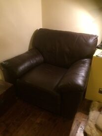 Armchair chocolate brown leather - good condition