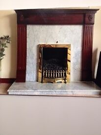 Mahogany Fireplace with marble hearth & backpanel + Dimplex coal effect electric fire