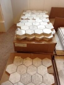 New Ceramic Floor Tiles. 6 sided beautiful pale gray tiles