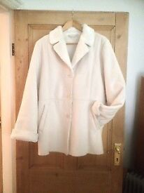 white outdoor jacket, fleecy warm, ladies size 12-14 M&S
