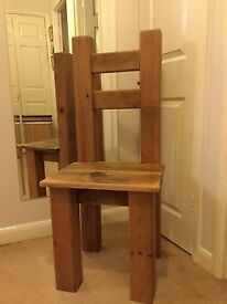 TWO SOLID OAK DINING CHAIRS. £100 each. Buyer collects Addlestone area