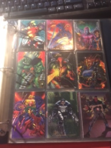 Variety of Marvel Trading Cards from the 1990's Over 200 Cards