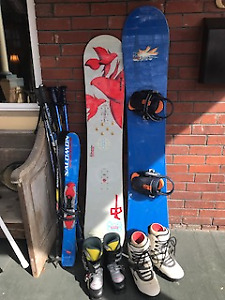 Two snowboards plus boots and poles!