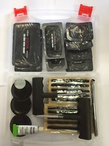 Tubeless Tyre Puncture Repair Kit. Radial Patches-Heavy Duty,30 Plugs, Gauge.