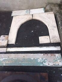 Old Solid Marble Fire Surround and Mantle with Cast Iron Insert
