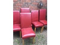 red leather effect dining chairs x 5