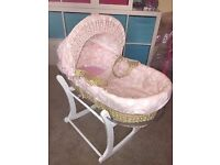 Mamas & Papas Pink Moses Basket with White Rocking Stand