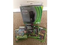 xbox 360 with box and four games