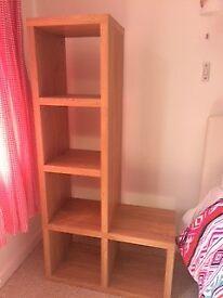 Light wood storage shelving unit. Unusual shape. Excellent condition. £15