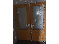 ****SOLD*****2 x Interior Office Wood Glass House Doors Door Handles Primed