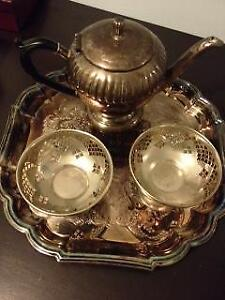 Silver plated tray, tea pot and candy bowls