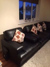 3 month old Large Black Leather Corner Suite with Armchair & Pouffe