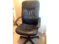Faux leather black office chair