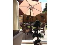 Stone mosaic Patio table weather proof , rattan style chairs with cushions (Heavy)