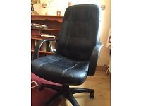 Leather office chair on castors as new