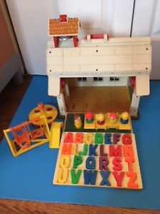 1970s Vintage Fisher Price Play Family Little People School