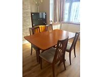 DINING TABLE (fold down 2 sides ) & 4 CHAIRS - G PLAN