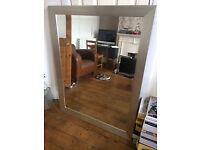 Large Silver Framed Mirror in Excellent Condition