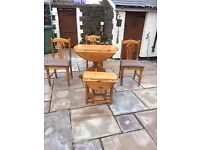 Solid Pine Table - Folding 3ft round. 3 chairs and a small folding coffee table 26inches