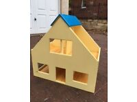Sturdy dolls house with dolls and furniture