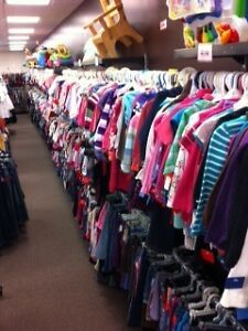 50% off clothing, 10/$10 onesies & $1 & Under racks
