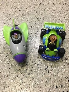 Buzz Lightyear & Woody cars with batteries.  They move