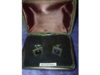 2 pair vintage 1930s cufflinks and original box