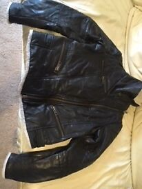 Mango Ladies Black Leather Bomber Jacket