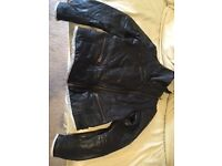 Mango Ladies Black Leather Bomber Jacket