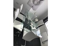 Large Glass Dining table and 6 White Leather Chairs