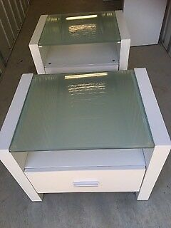 Side Tables/Bedside Tables(2)-frosted glass tops, in vgc