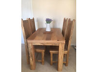 "Mantis Light Natural Solid Mango 5ft x 2ft 6"" Dining Table with 4 matching mango wood chairs"