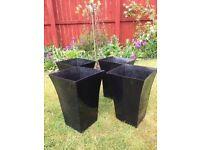 4 Black Resin Tall Planters