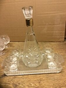 Crystal Decanter, Tray and Liqueur Glasses - $40