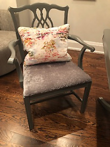 Restored dining / arm chairs - crushed velvet - silver and grey