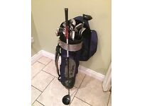 Irons, wedges, putter, Rescue club, 3 wood, Taylor Made Driver and bag