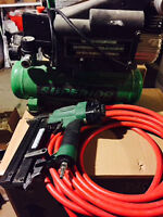 compressor with hose and nail gun