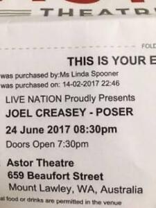 Joel Creasey Tickets x2 tix $25 each, under Face Value Stalls FFF Mosman Park Cottesloe Area Preview