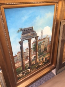 Original Framed Oil Painting Featuring Ancient Ruins