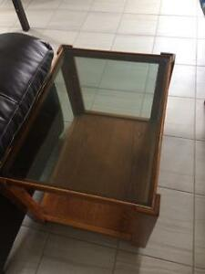 2 Wood & Glass Side Tables