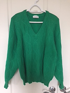 Adidas Vintage Sweater - Unisex -Green - V Neck - Size XL