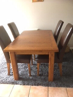 Solid Wood Dining Room Table And 6 Leather Chairs