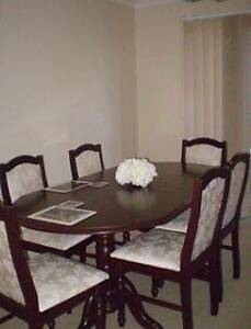MOVING! Rosewood Dining Table (extends) w/ damask pattern 6 chair Bridgeman Downs Brisbane North East Preview